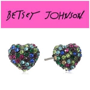 Betsey Johnson Confetti Pave Crystal Heart Studs